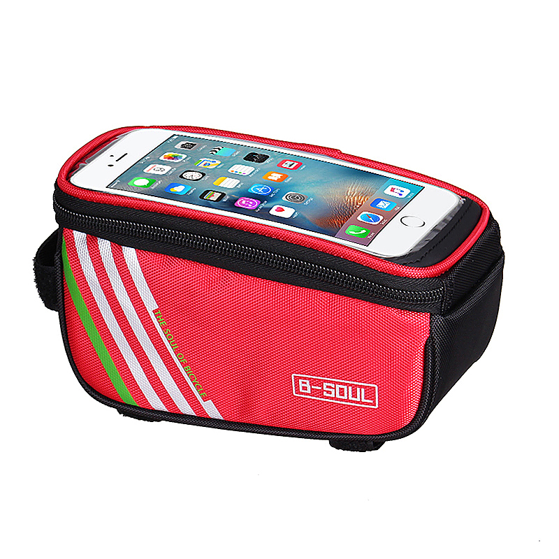 4.8inch Bike Bicyle Front Top Mobile Phone Storage Bag Touch Screen Phone Protective Pouch - Red