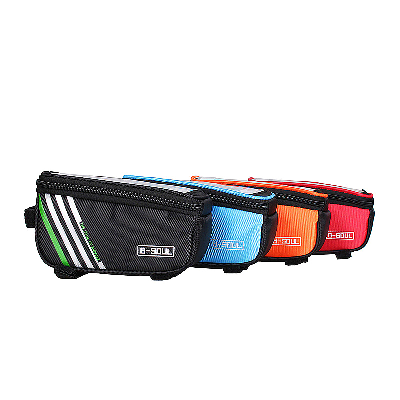 4.8inch Bike Bicyle Front Top Mobile Phone Storage Bag Touch Screen Phone Protective Pouch - Orange