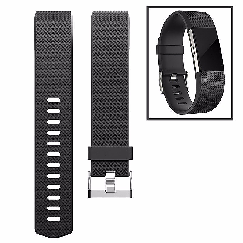 Fitbit Charge 2 Strap Band Silicone Relacement Wristband Smart Watch Bracelet Size L - Black