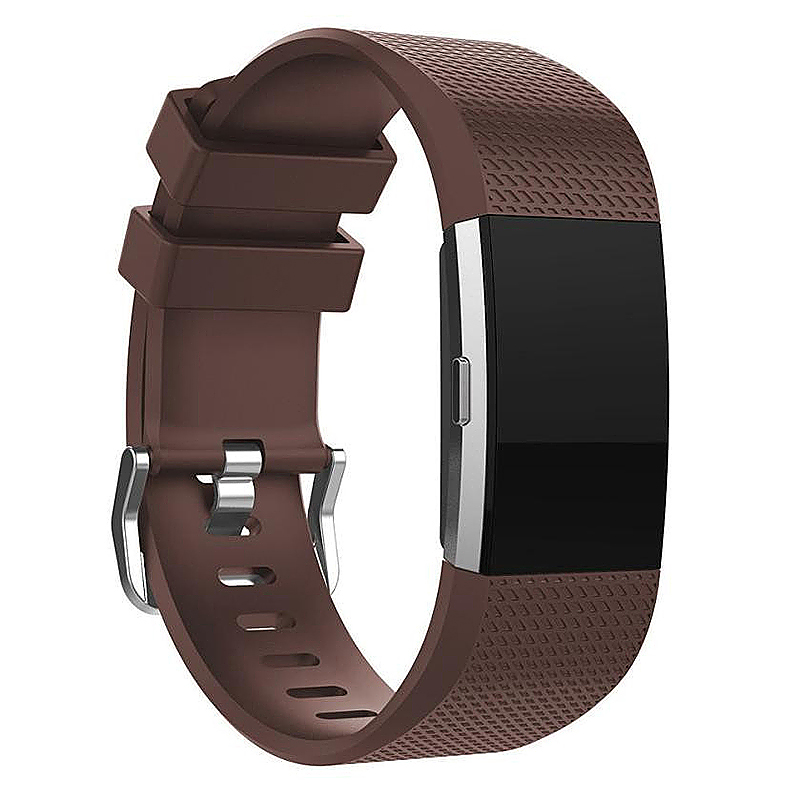 Fitbit Charge 2 Strap Band Silicone Relacement Wristband Smart Watch Bracelet Size L - Brown