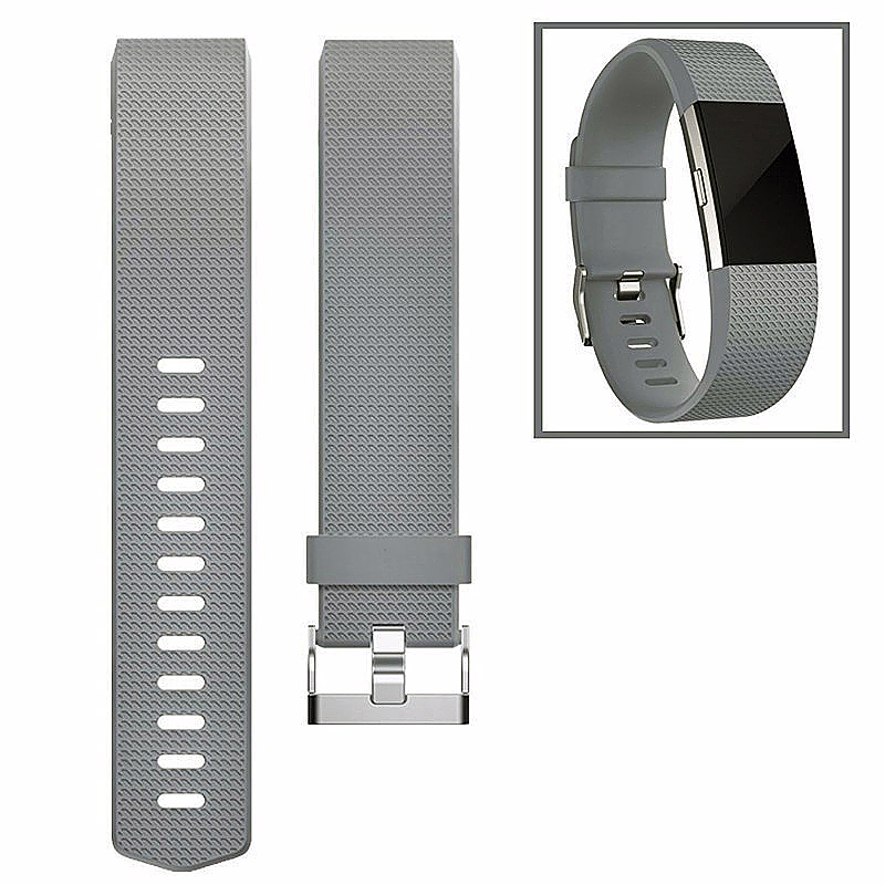 Fitbit Charge 2 Strap Band Silicone Relacement Wristband Smart Watch Bracelet Size L - Gray