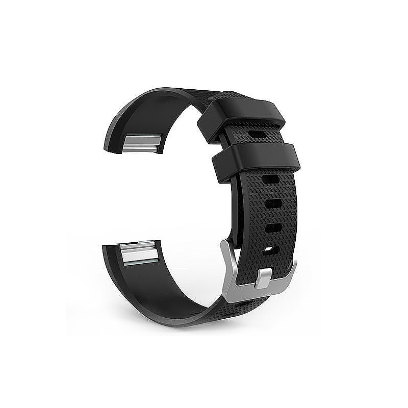 Soft Silicone Replacement Band Bracelet Fitness Smart Wristband for Fitbit Charge 2 Size S - Black