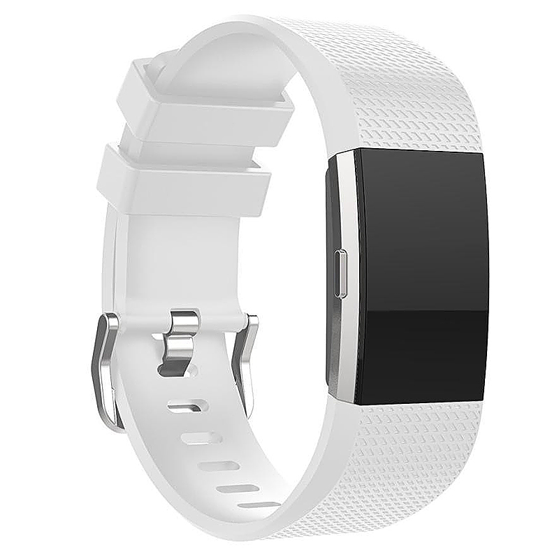 Soft Silicone Replacement Band Bracelet Fitness Smart Wristband for Fitbit Charge 2 Size S - White