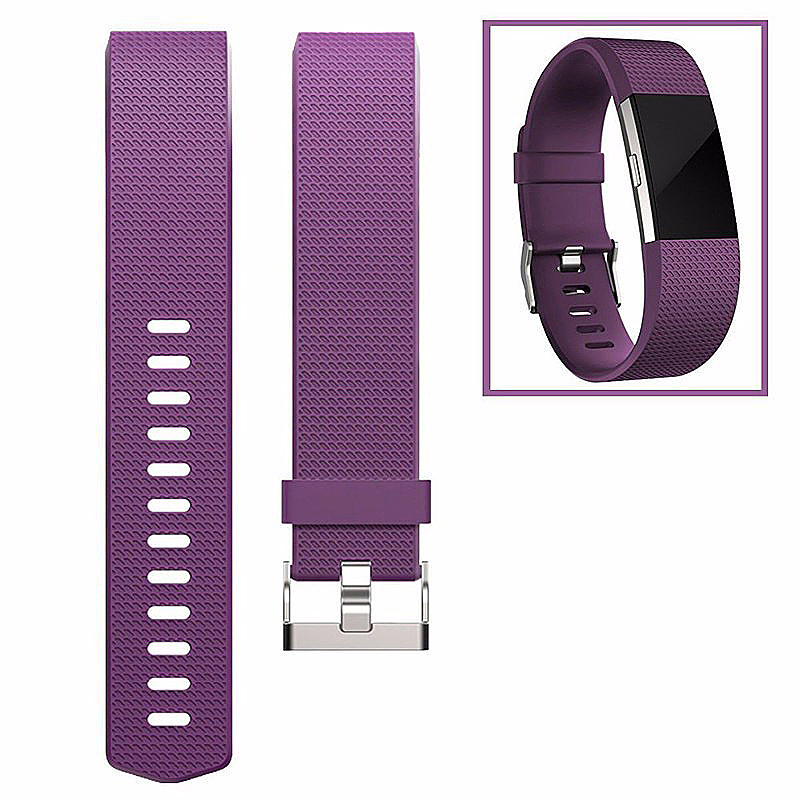 Soft Silicone Replacement Band Bracelet Fitness Smart Wristband for Fitbit Charge 2 Size S - Purple