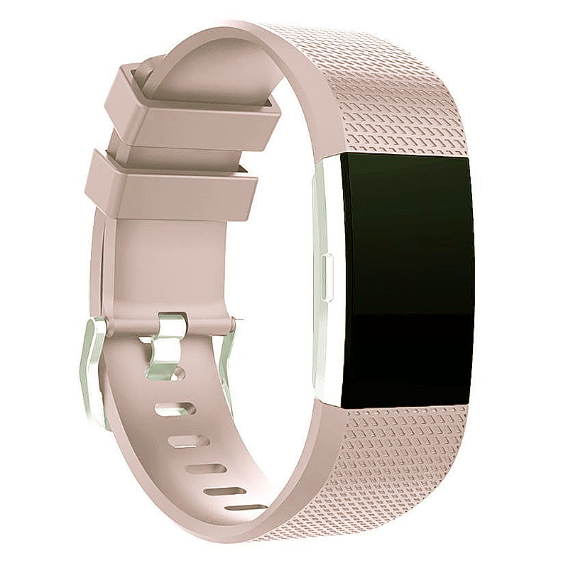 Soft Silicone Replacement Band Bracelet Fitness Smart Wristband for Fitbit Charge 2 Size S - Beige