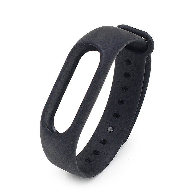 Replacement Silicone Wrist Strap Wristband Bracelet for Xiaomi Mi Smartband 2 - Black