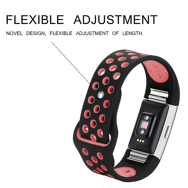 Fitbit Charge 2 Band Silicone Strap Bracelet Replacement Smart Wristbands Size L - Black + Pink