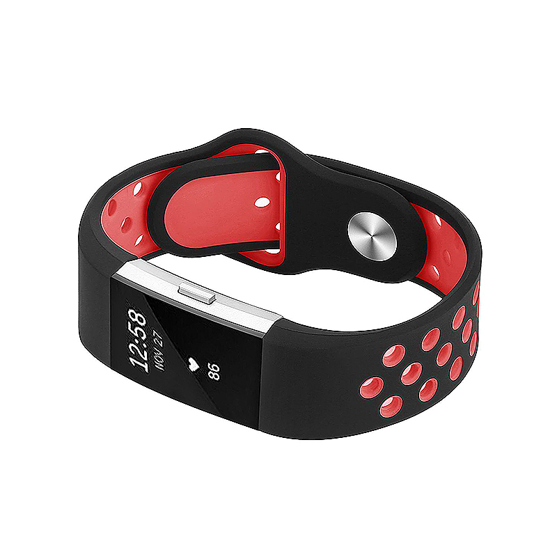 Fitbit Charge 2 Band Silicone Strap Bracelet Replacement Smart Wristbands Size L - Black + Red