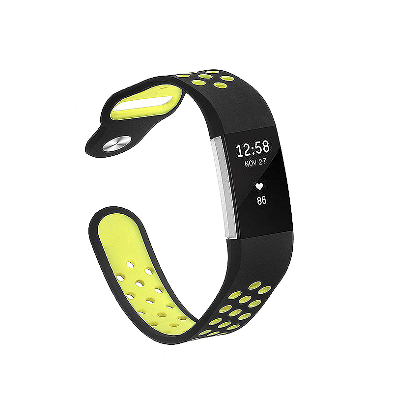Fitbit Charge 2 Band Silicone Strap Bracelet Replacement Smart Wristbands Size L - Black + Green