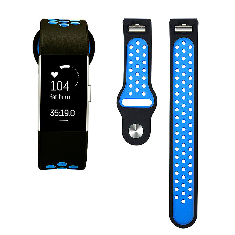 Fitbit Charge 2 Band Silicone Strap Bracelet Replacement Smart Wristbands Size L - Black + Blue