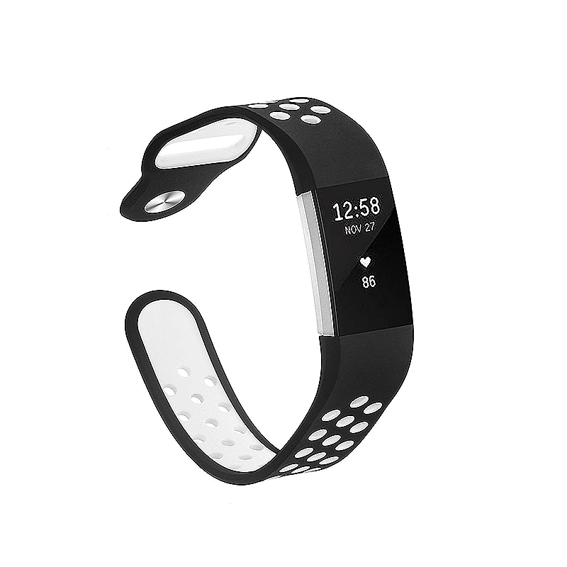 Replacement Silicone Wristband Bracelet Strap Band for Fitbit Charge 2 Size S - Black + White