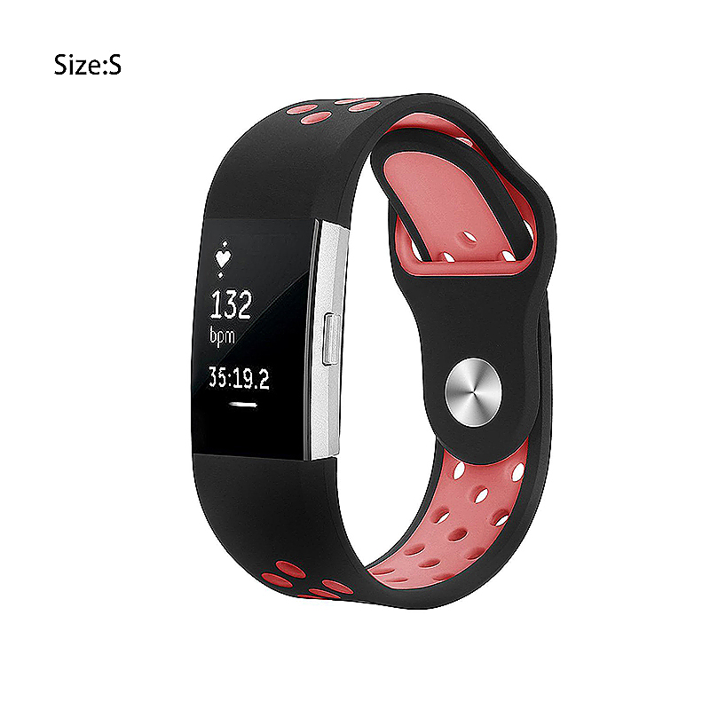 Replacement Silicone Wristband Bracelet Strap Band for Fitbit Charge 2 Size S - Black + Pink