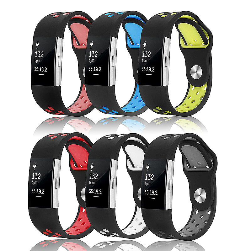 Replacement Silicone Wristband Bracelet Strap Band for Fitbit Charge 2 Size S - Black + Red