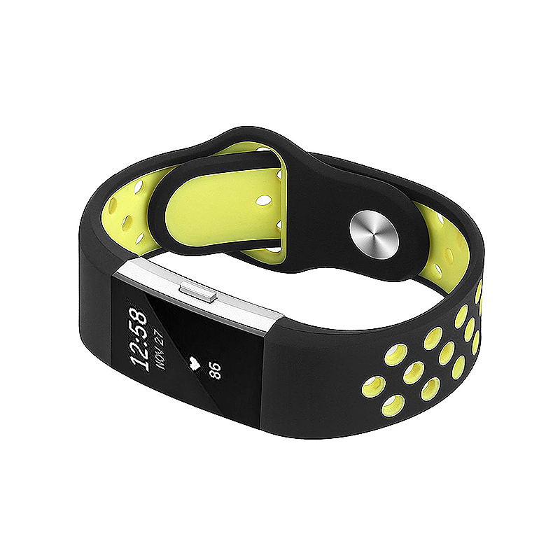 Replacement Silicone Wristband Bracelet Strap Band for Fitbit Charge 2 Size S - Black + Green