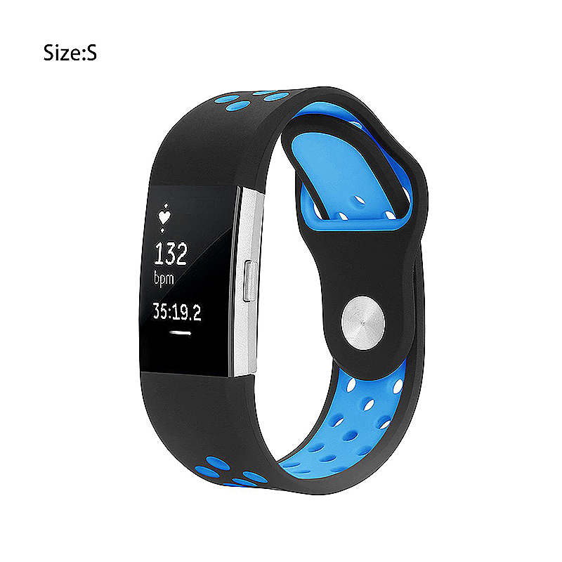 Replacement Silicone Wristband Bracelet Strap Band for Fitbit Charge 2 Size S - Black + Blue