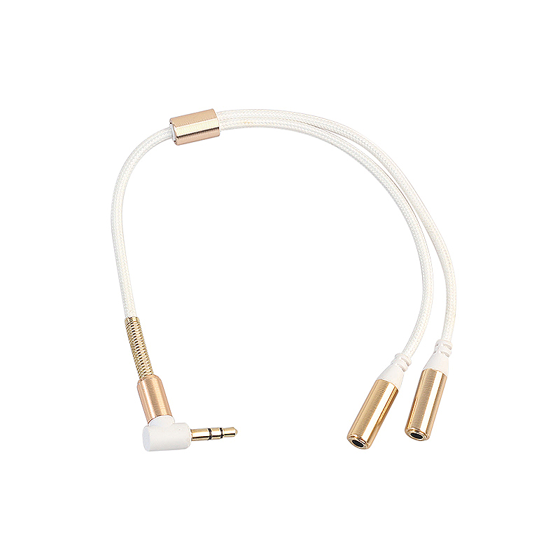 3.5mm Stero Aux Audio Cable Male to 2 Female Y Splitter Cable for Smartphone Tablet PC - White