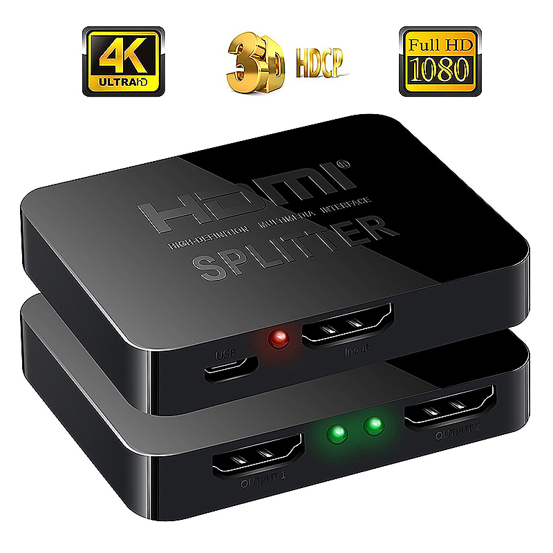 HD 4K 2 Port HDMI Splitter 1x2 Repeater Amplifier Hub 1 In 2 Out 1080P 3D Adapter - Black