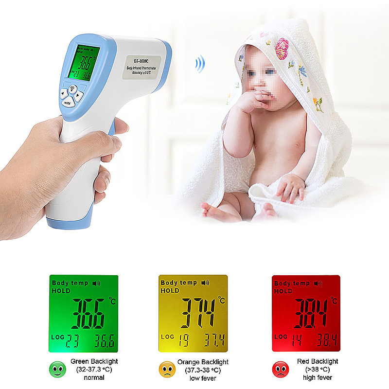 Digital Thermometer Baby Adult Forehead Non-contact Infrared Thermometer with LCD Backlight - Blue