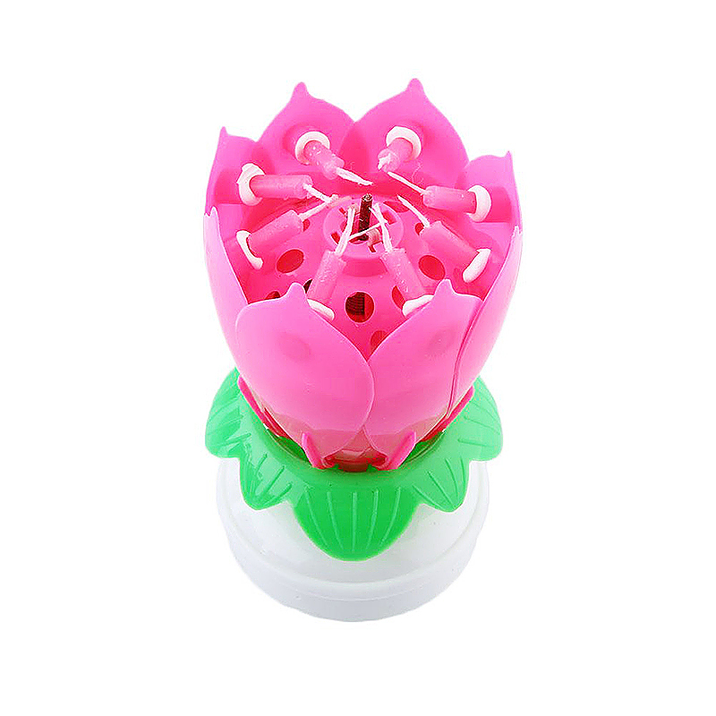 Amazing Flower Candle Gift Happy Birthday Magical Blossom Lotus with Musical Rotating - Pink