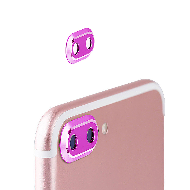 Camera Metal Circle Protector Ring Lens Protective Case for iPhone 7 Plus - Rose Red