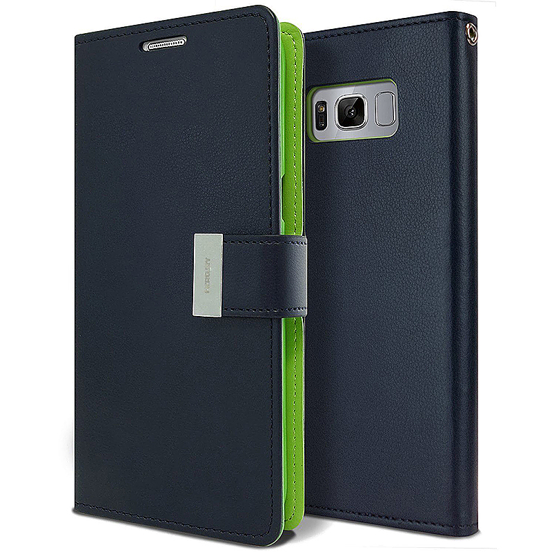 PU Leather Protective Flip Wallet Slot Card Phone Case Cover for Samsung S8 Plus - Navy Blue
