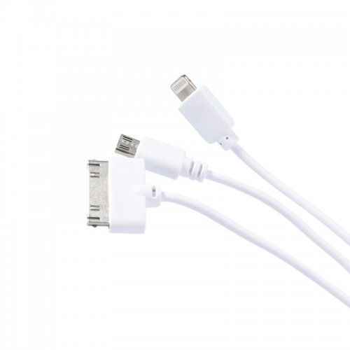 3 in 1 USB 2.0 to iPhone 8 Pin, iPhone 30 Pin, Micro USB Multi-functional Cable