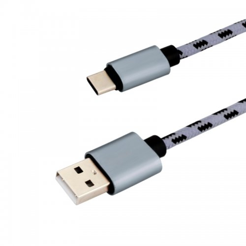 1M Type C USB Knit Braid Charging Data Cable for Smartphone Huawei - Gray