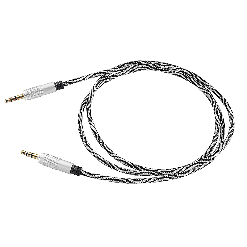3.5 to 3.5mm Jack Aux Cable Nylon Braid Car Audio Stereo MP3 Cable - White
