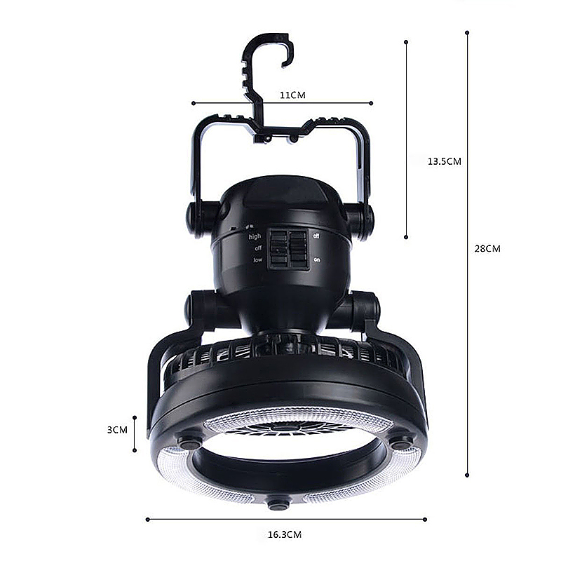 2 in 1 Portable 18 LED Camping Lantern with Ceiling Fan for Outdoor Hiking Emergencies Tent