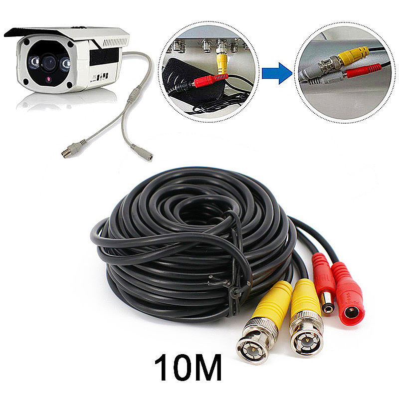 10M BNC DC CCTV Security Monitor Video Camera DVR Data Power Cable - Black