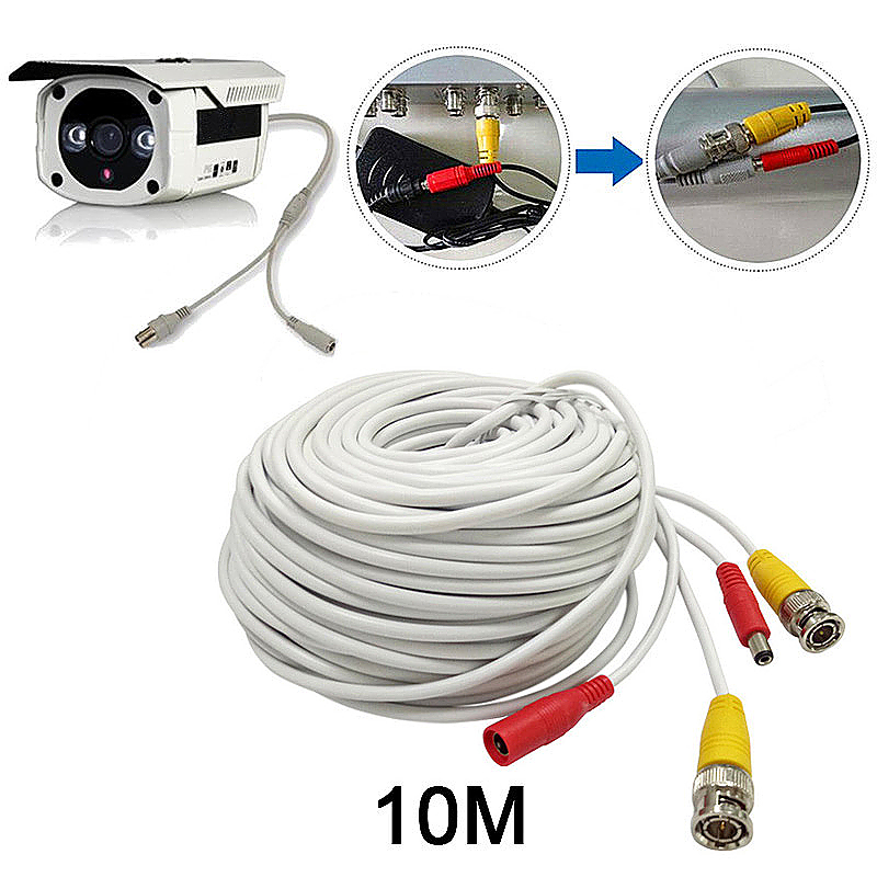 10M CCTV Pre-made Cable BNC to DC Video Camera Surveillance Power Extended Cable - White