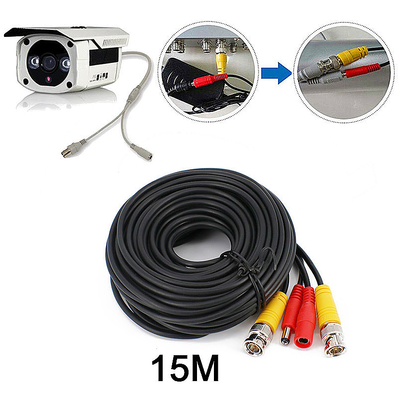 15M BNC DC CCTV Security Monitor Video Camera DVR Data Power Cable - Black