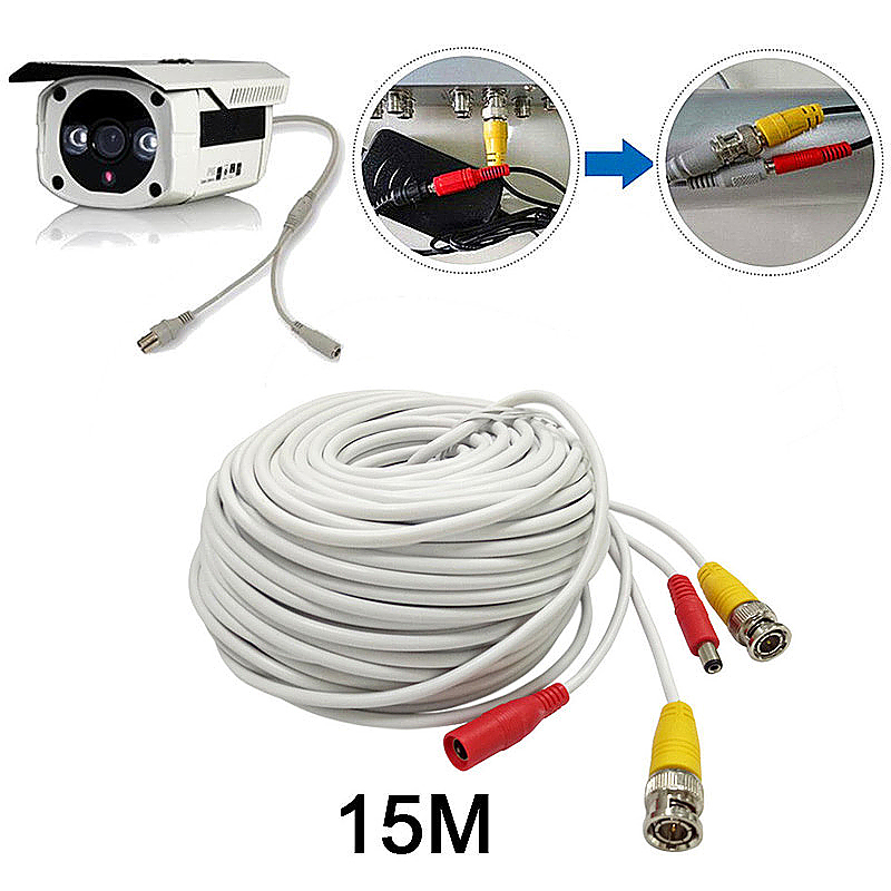 15M CCTV Pre-made Cable BNC to DC Video Camera Surveillance Power Extended Cable - White