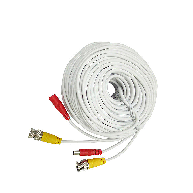 20M CCTV Pre-made Cable BNC to DC Video Camera Surveillance Power Extended Cable - White