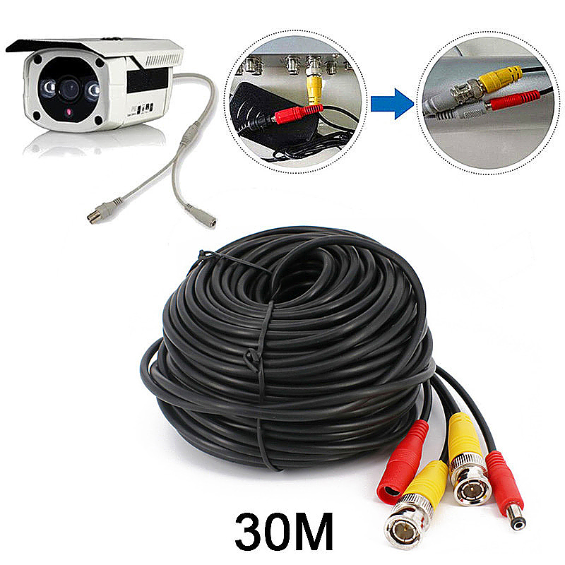 30M BNC DC CCTV Security Monitor Video Camera DVR Data Power Cable - Black