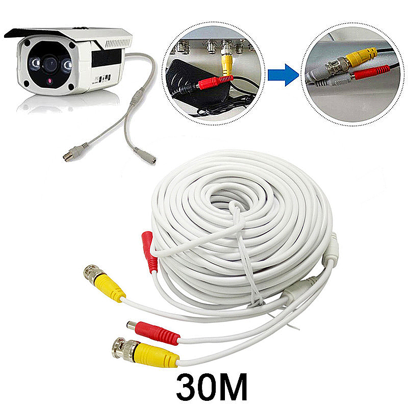 30M CCTV Pre-made Cable BNC to DC Video Camera Surveillance Power Extended Cable - White