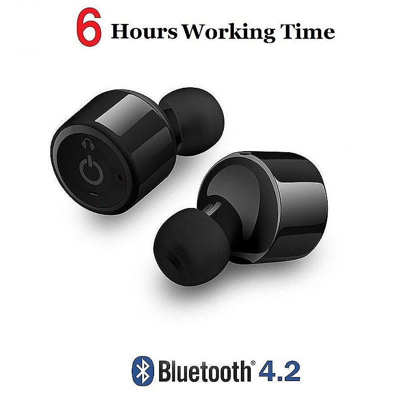 Wireless Headsets Bluetooth V4.2 Stereo Surround Sound Earphones with Mic for iPhone Samsung - Black