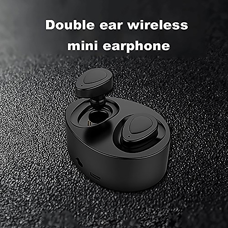 Wireless Earbuds Dual Bluetooth Earphones with Built-in Mic and Charging Case for Smartphones - Black
