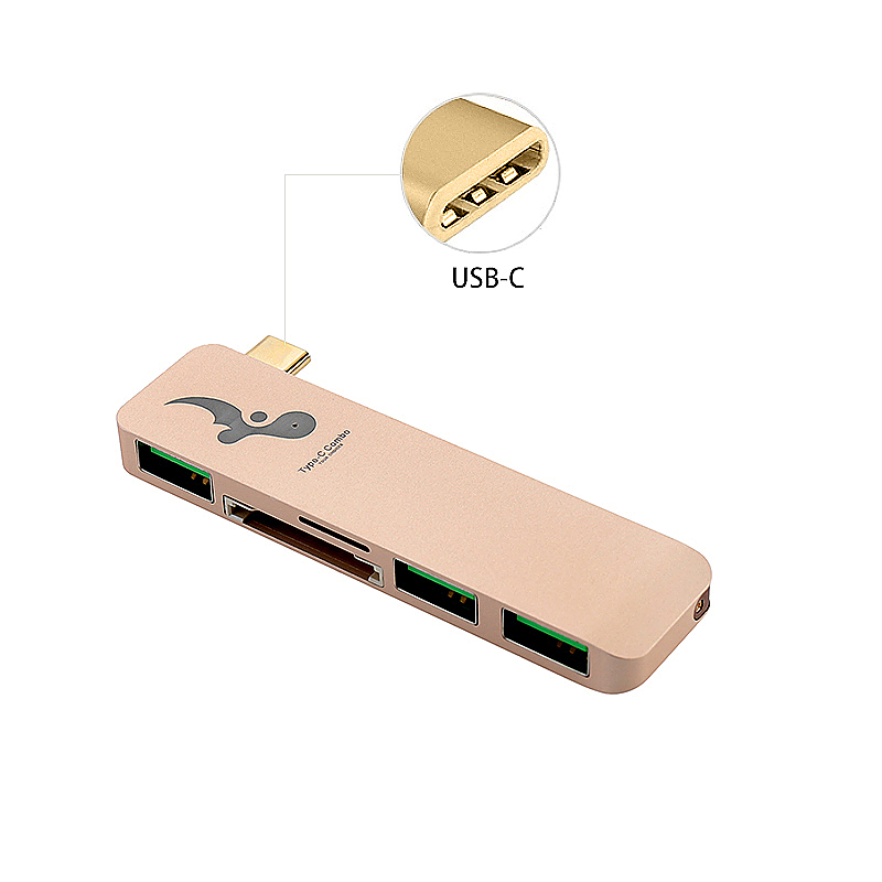 Slim Aluminum Type-C Multi-Port Hub Adapter with SD TF Card Readed for Macbook - Gold