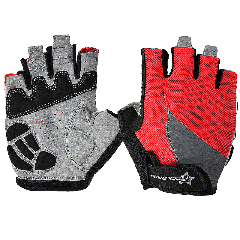 ROCKBROS Unisex Cycling Half Finger Short Gloves Breathable Anti-vibration Gloves Size L - Red