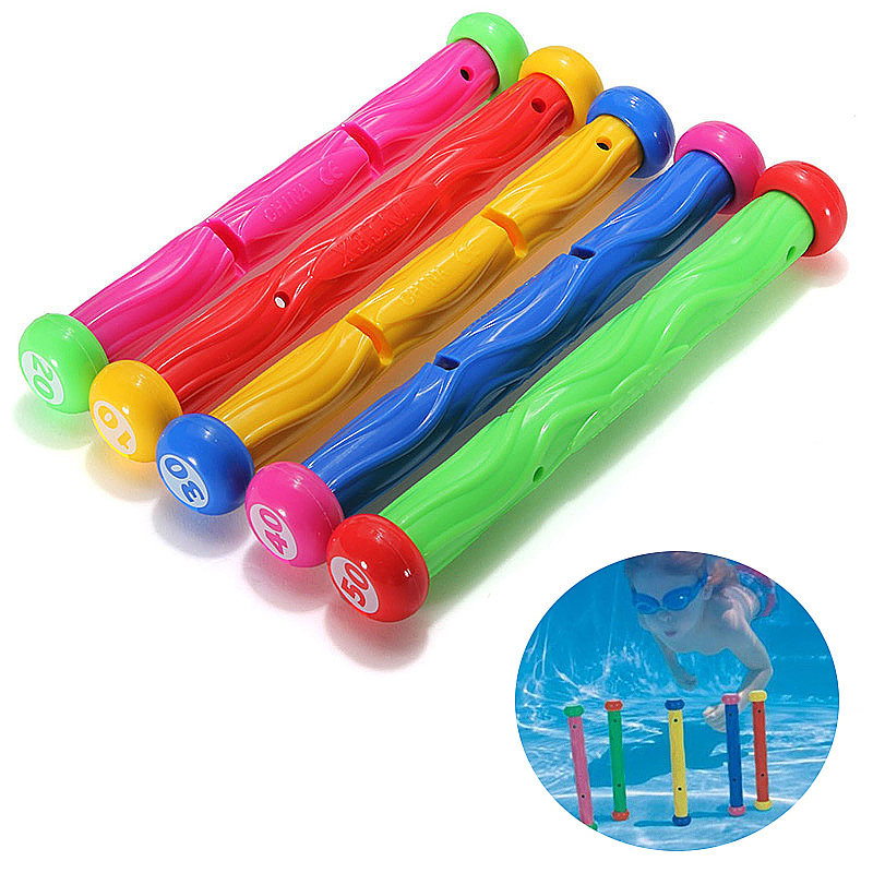 5pcs Swimming Pool Dive Sticks for Summer Fun Swimming Driving Float Sticks