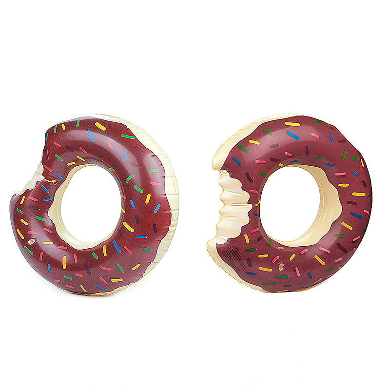 100cm Inflatable Donut Gigantic Swim Ring Lounger Swimming Pool Float for Adult - Brown
