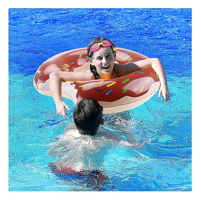 90cm Inflatable Donut Gigantic Swim Ring Lounger Swimming Pool Float for Adult - Brown