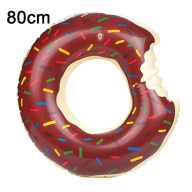 80cm Inflatable Donut Gigantic Swim Ring Lounger Swimming Pool Float for Adult - Brown
