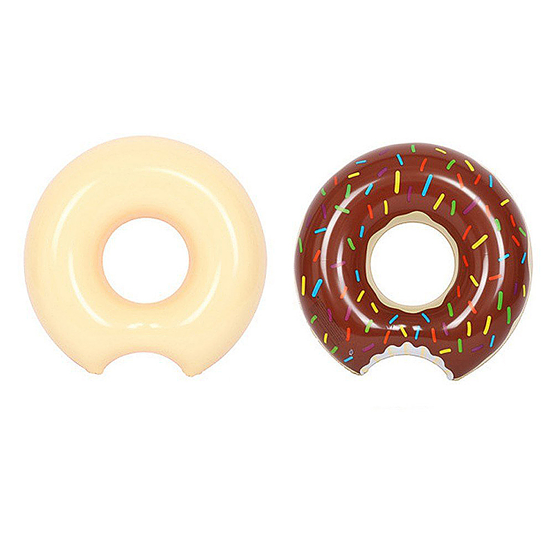 60cm Inflatable Donut Gigantic Swim Ring Lounger Swimming Pool Float for Adult - Brown