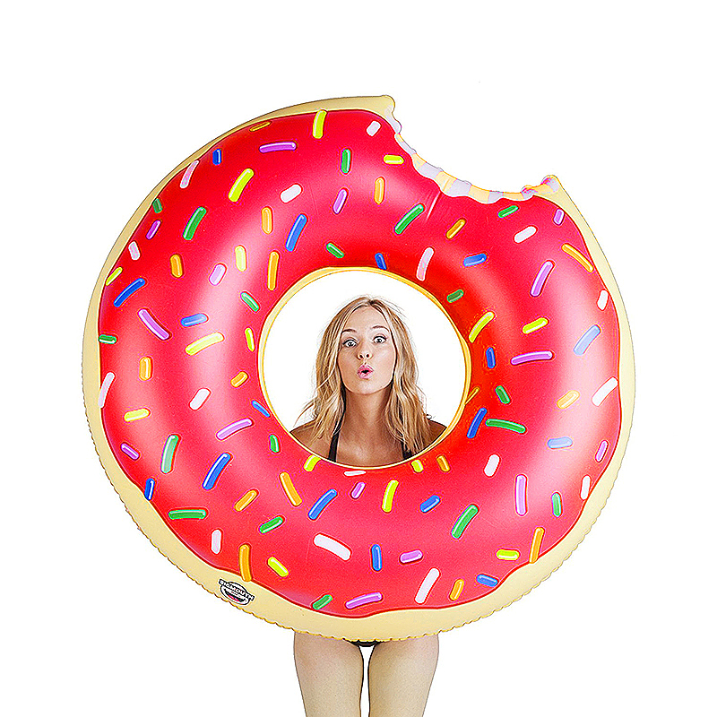 120cm BigMouth Inflatable Gigantic Donut Swimming Pool Ring Float Swim Ring - Pink