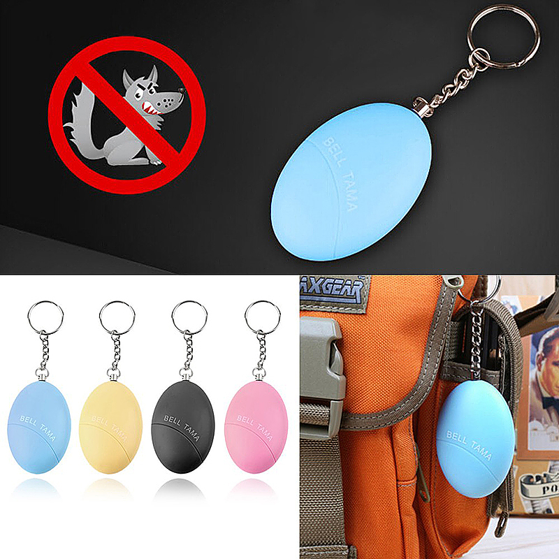 Self Defense Keychain Alarm Egg Shape Personal Security Anti-Attack Protect Safety Alarmer - Blue