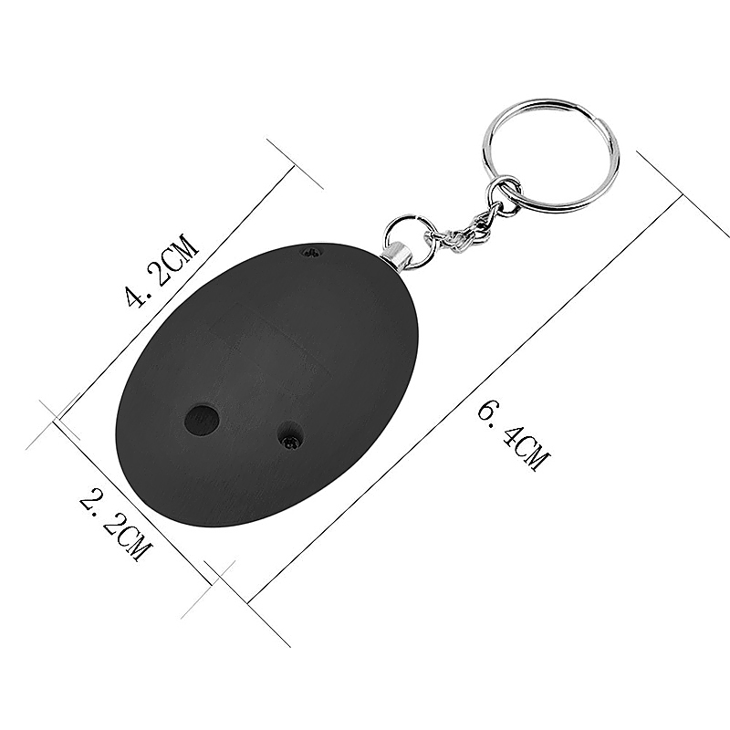 Self Defense Keychain Alarm Egg Shape Personal Security Anti-Attack Protect Safety Alarmer - Black