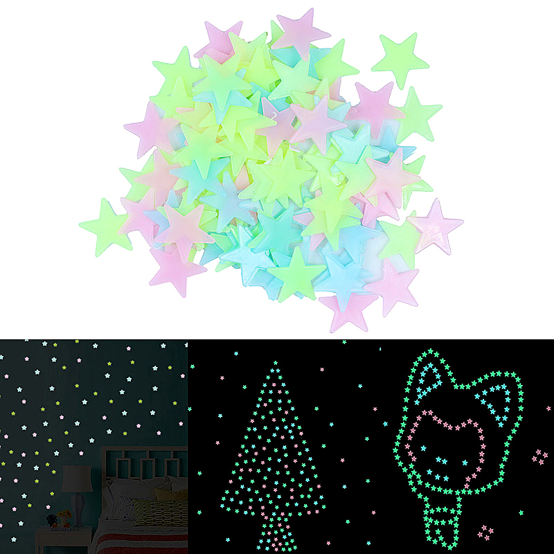 Glow in the Dark Stars Multi Pack Wall Star Stickers for Kids Bedroom Nursery - Assorted Colour