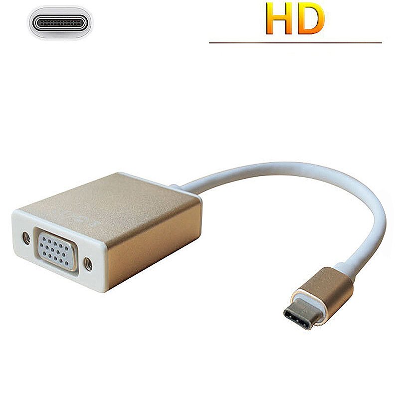 USB-C to VGA Adapter USB 3.1 Type C to VGA Male to Female Adapter for MacBook - Golden